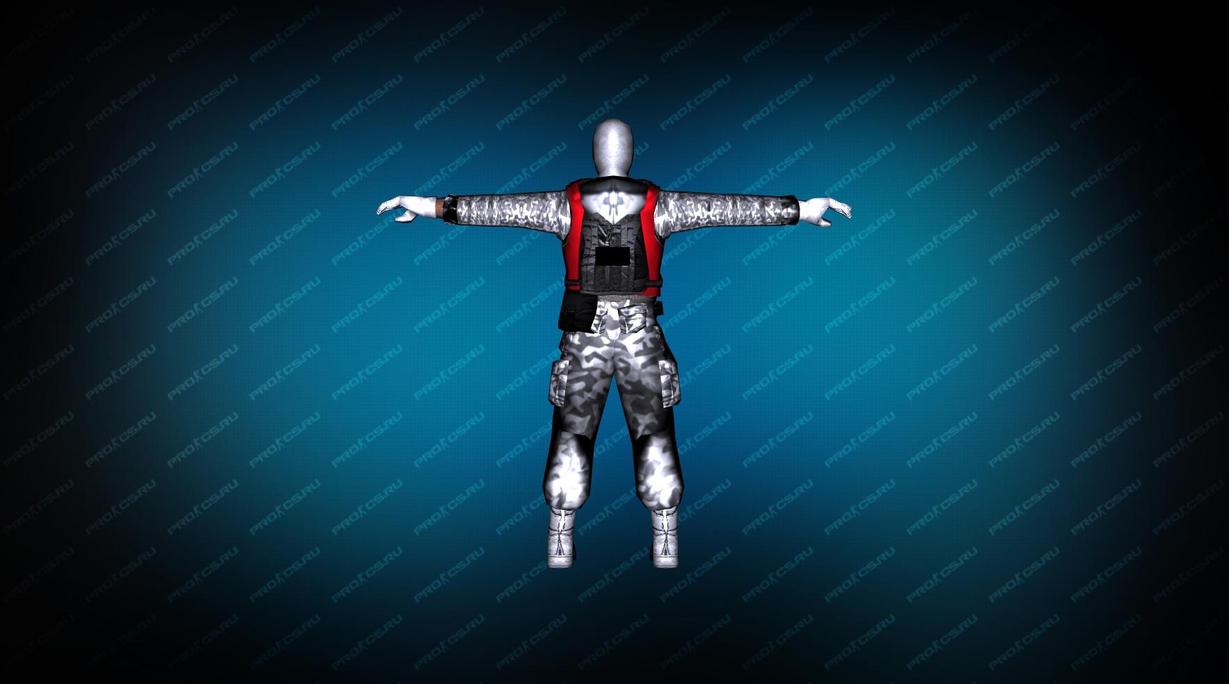 Модель игрока «Snow Soldier» для CS 1.6 вид сзади