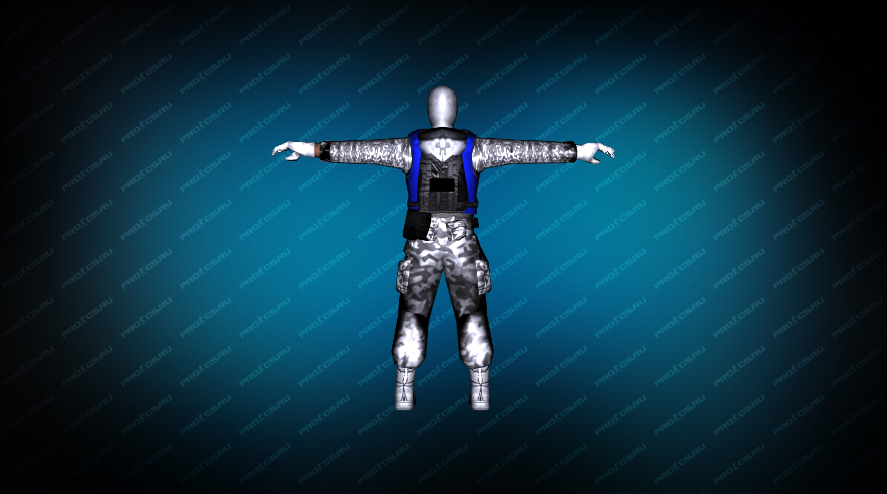 Модель игрока «Snow Soldier» Blue для CS 1.6 вид сзади