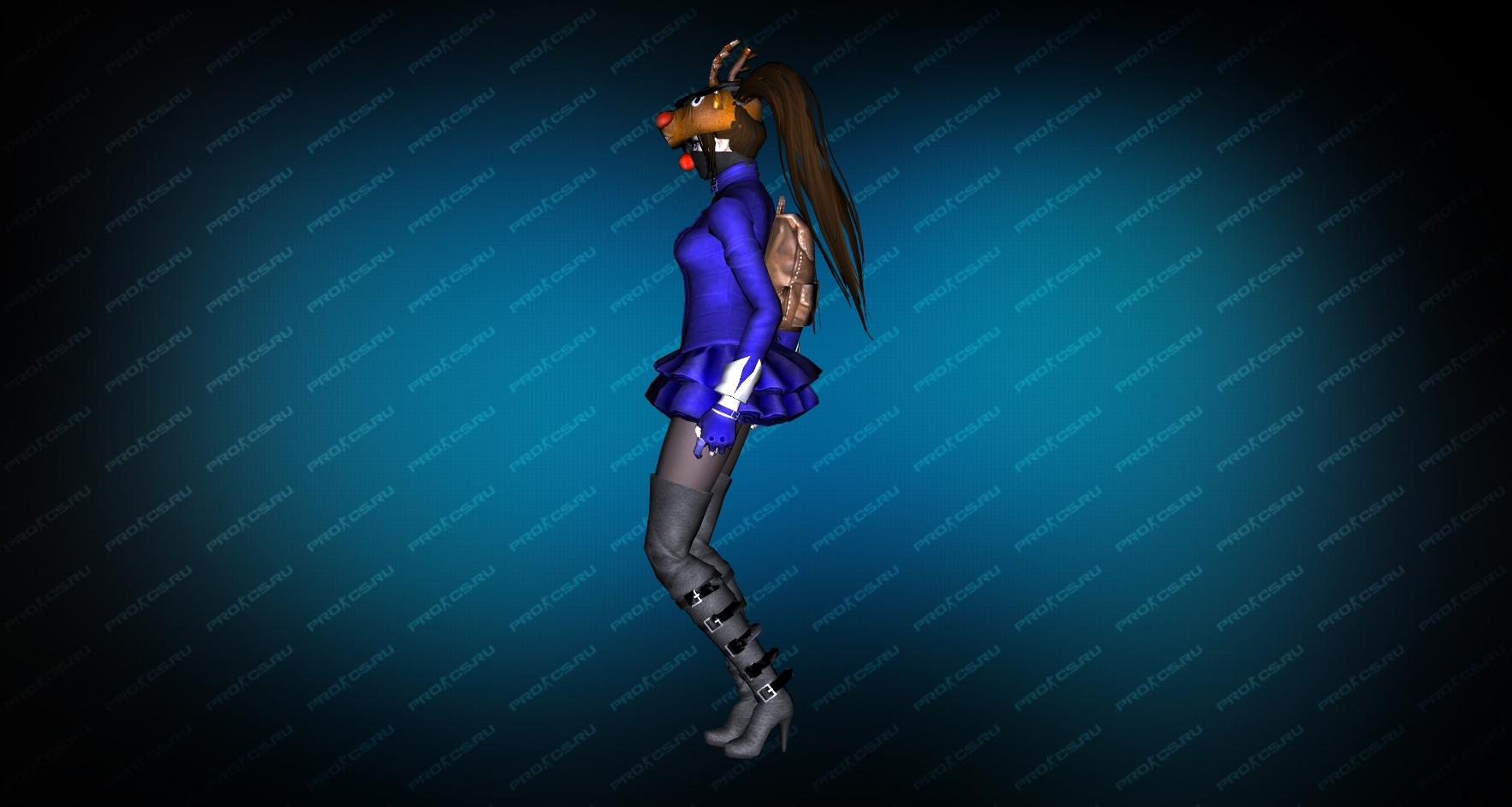 Модель игрока «Succubus Blue» вид сбоку