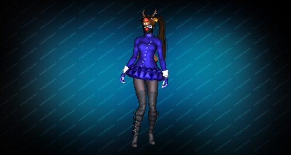 Модель игрока «Succubus Blue» вид сзади
