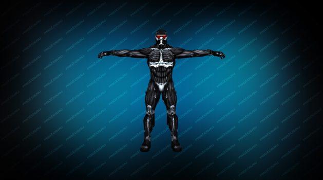 Модель игрока «Nano костюм» TT черный с белыми полосами